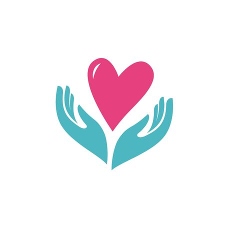 Heart in hands symbol on white