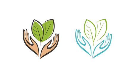 Plant or leaves in hands logo