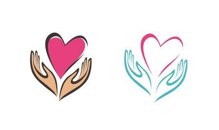 Hands holding heart symbol. Illustration
