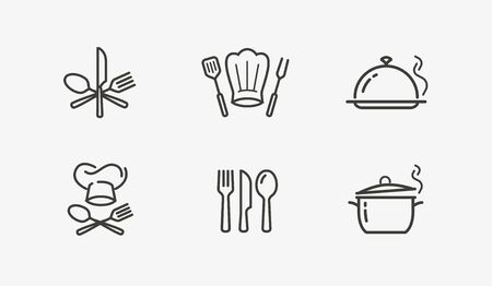 Cooking icon set vector on white