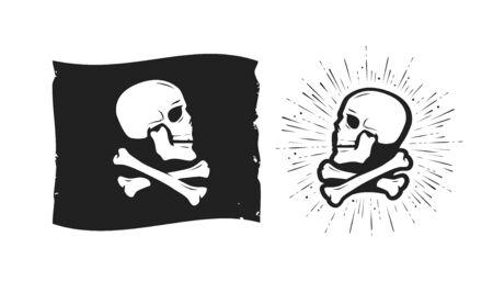 Skull and crossbones symbol  on white