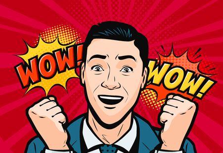 Delighted man or businessman. Retro comic pop art vector illustration