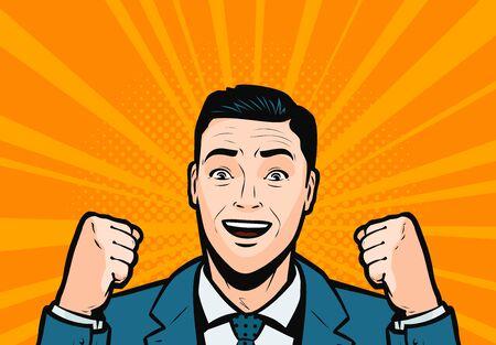 Success, businessman delighted in retro comic pop art