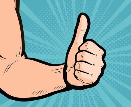 Thumb up hand gesture. Retro comic pop art vector Stockfoto - 141710861