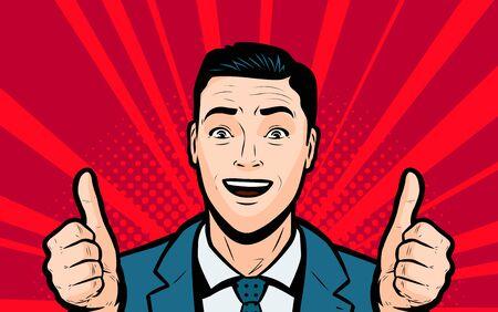 Happy businessman keeps his thumbs up in Retro comic pop art