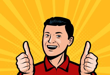 Happy man or businessman showing thumbs up in retro comic pop art vector