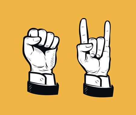 Hand sign retro. Business vintage vector illustration Иллюстрация
