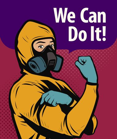 Man in chemical protective suit. We Can Do It, retro poster