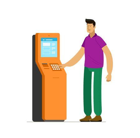 Man at information terminal stand. Ilustración de vector