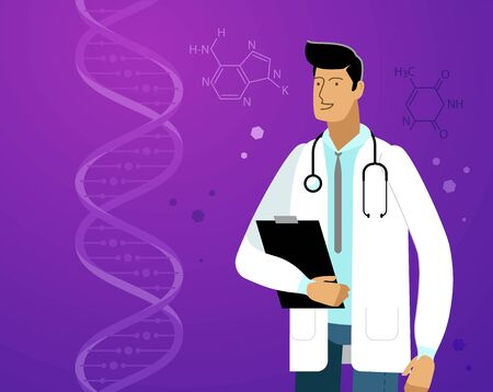Doctor in white coat. Laboratory vector illustration