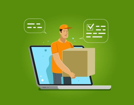 Fast delivery issued through web application on laptop. Vector illustration