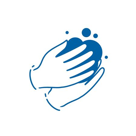 Washing hands with soap symbol or icon. Disinfection vector