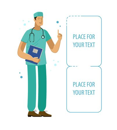Doctor cartoon character. Medicine, hospital vector illustration