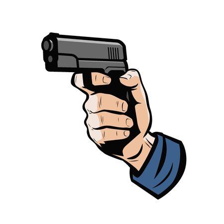 Gun in hand. Firearm, weapon vector illustration Çizim