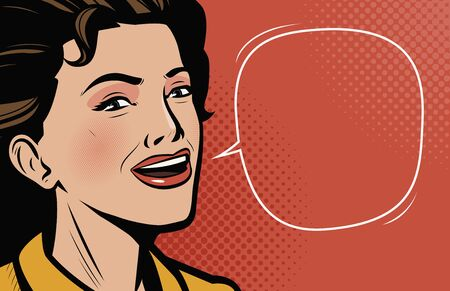 Beautiful young woman speaks. Retro comic pop art vector Vettoriali
