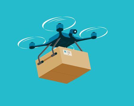 Air drone with box. Delivery service vector illustration Ilustração Vetorial