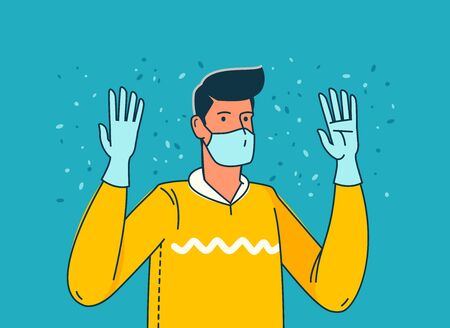 Pandemic COVID-19. Person in individual protection means. Vector illustration