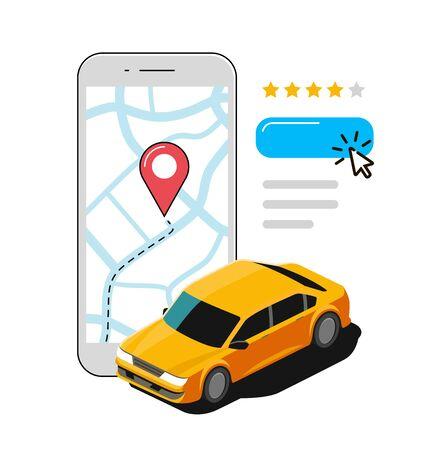 Llamada de taxi mediante aplicación móvil. Vector de transporte