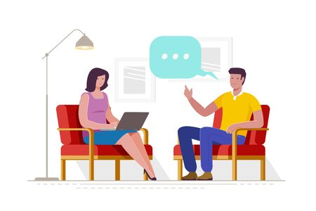 Blogging, live streaming. Interview content for posting on social networks. Cartoon vector illustration