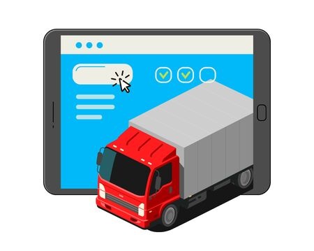 Freight transportation, moving. Trucking delivery service vector
