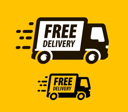 Free delivery symbol. Truck, freight transportation icon or symbol. Vector illustration