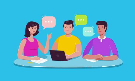 Teamwork, brainstorm. Employees negotiating while sitting at table. Vector illustration