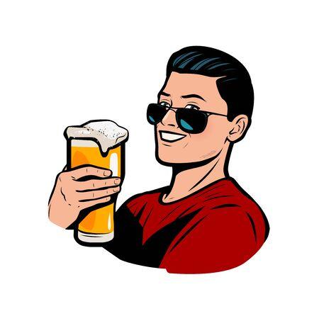 Man with beer mug. Retro comic pop art vector