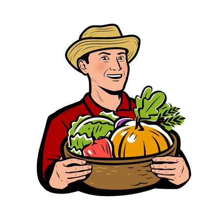 Farmer with vegetables. Natural food vector illustration