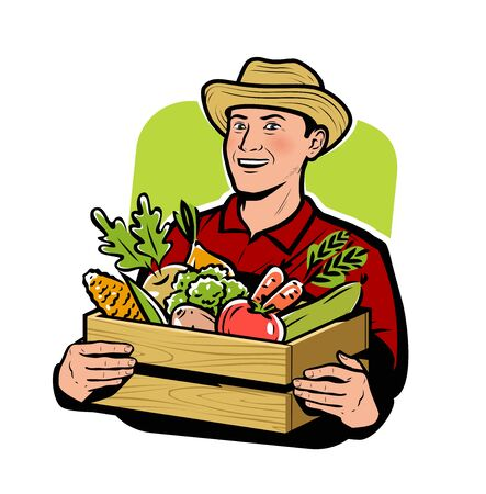 Farmer with vegetables. Agriculture, farm vector illustration Vecteurs
