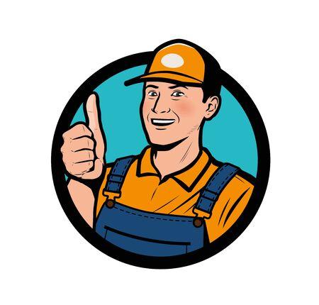 Service . Happy man showing thumbs up vector illustration Иллюстрация