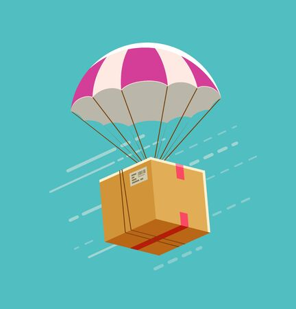 Delivery service. Parachute with cardboard box vector illustration