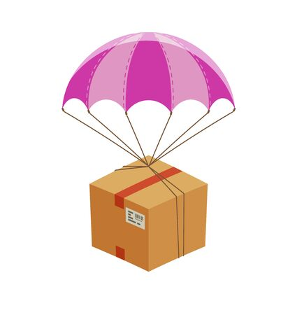 Parachute with cardboard box. Express home delivery vector
