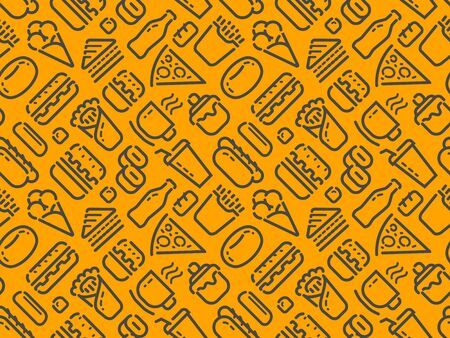 Food and drinks seamless pattern vector illustration