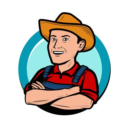 Happy farmer in hat cartoon.