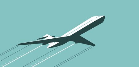 Flying airplane in sky. Air transportation, airline vector illustration