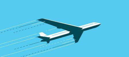 Flying airplane. Air transportation, airline, plane vector illustration