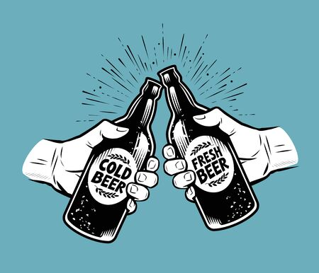 Toasting with beer. Alcoholic drink, brewing pub vector