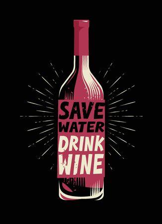 Bottle of wine. Retro poster for bar or restaurant vector illustration