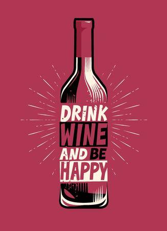 Bottle of wine. Retro poster for bar or restaurant vector