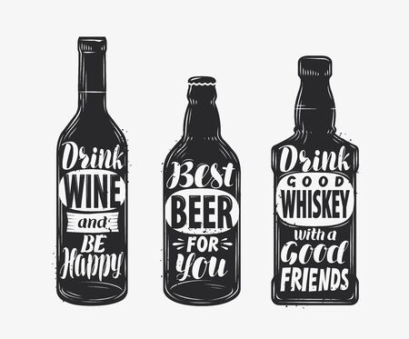 Bottle with alcoholic drink and motivating inscription. Hand-drawn lettering vector