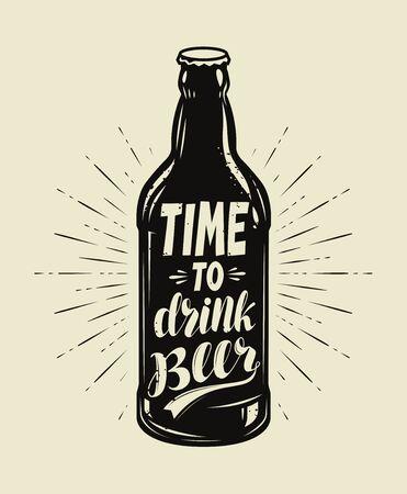 Beer bottle retro. Pub, brewery vintage vector illustration
