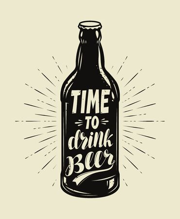 Beer bottle retro. Pub, brewery vintage vector illustration