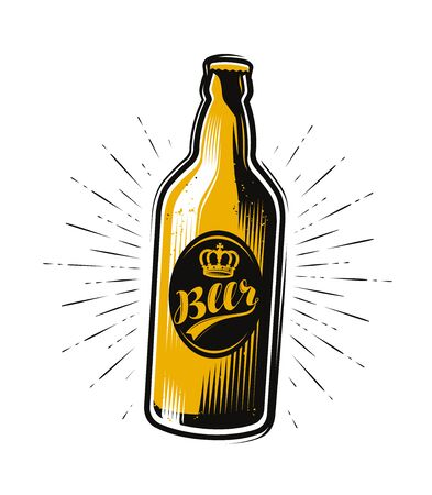 bottle of beer, drink. Pub brewery vintage vector Illustration