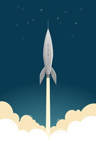 Rocket launch. Spaceflight spacecraft spaceship vector