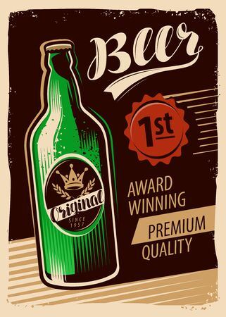 Beer advertising retro poster. Pub, brewery restaurant vector