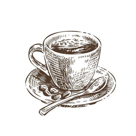 Cup of coffee sketch. Vintage vector illustration. Menu design for cafe and restaurant