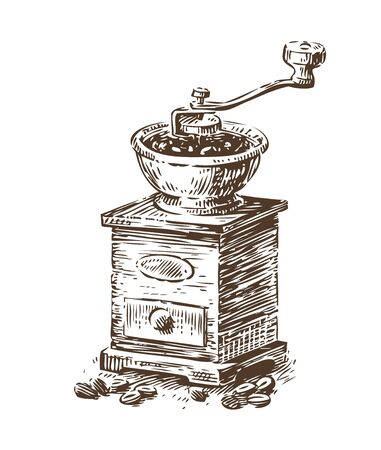 Coffee grinder sketch. Vintage vector illustration. Menu design for cafe and restaurant
