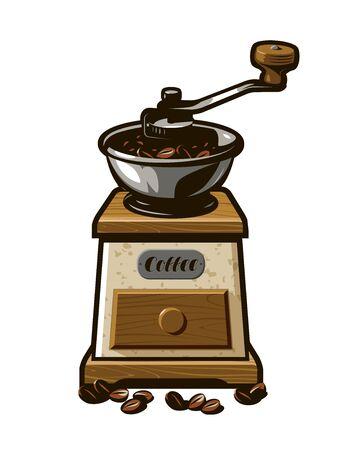 Retro coffee grinder. Vector illustration. Menu design for cafe and restaurant Illustration