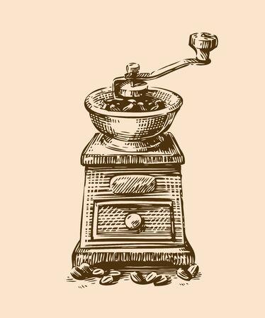 Coffee grinder sketch. Vintage vector illustration. Menu design for restaurant and cafe