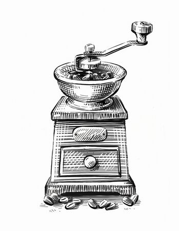 Hand-drawn sketch coffee grinder isolated on white background